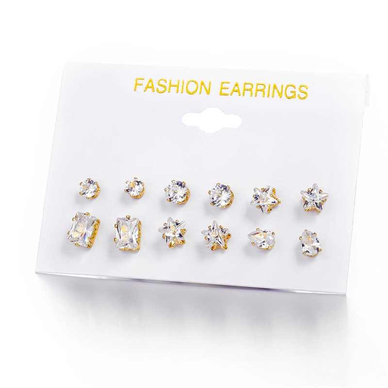 Fashion 6 Pair/ set Punk Zircon Crystal Stud Earrings Set For Women Star Flower Animal Tortoise Geometric Brincos Jewelry Bijoux