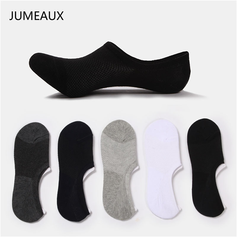 JUMEAUX 3 Pairs Men Cotton Low Cut Men's Loafer Boat Non-Slip Invisible Liner Low Cut Socks 2019 Wholesale