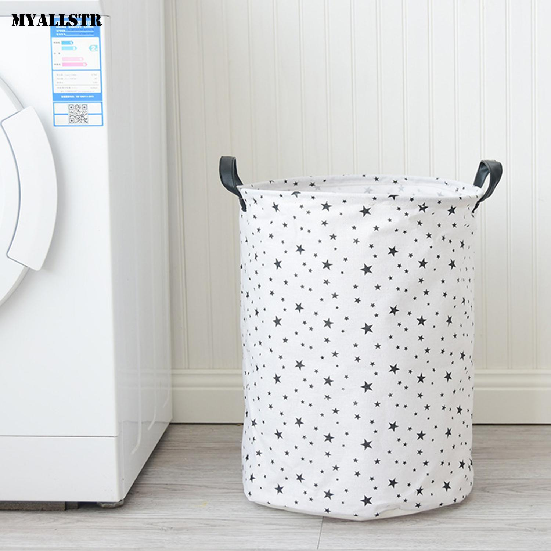 Multi-function Foldable Waterproof Laundry Basket Toys Storage 300g Small Stars Indoor White Black Bucket