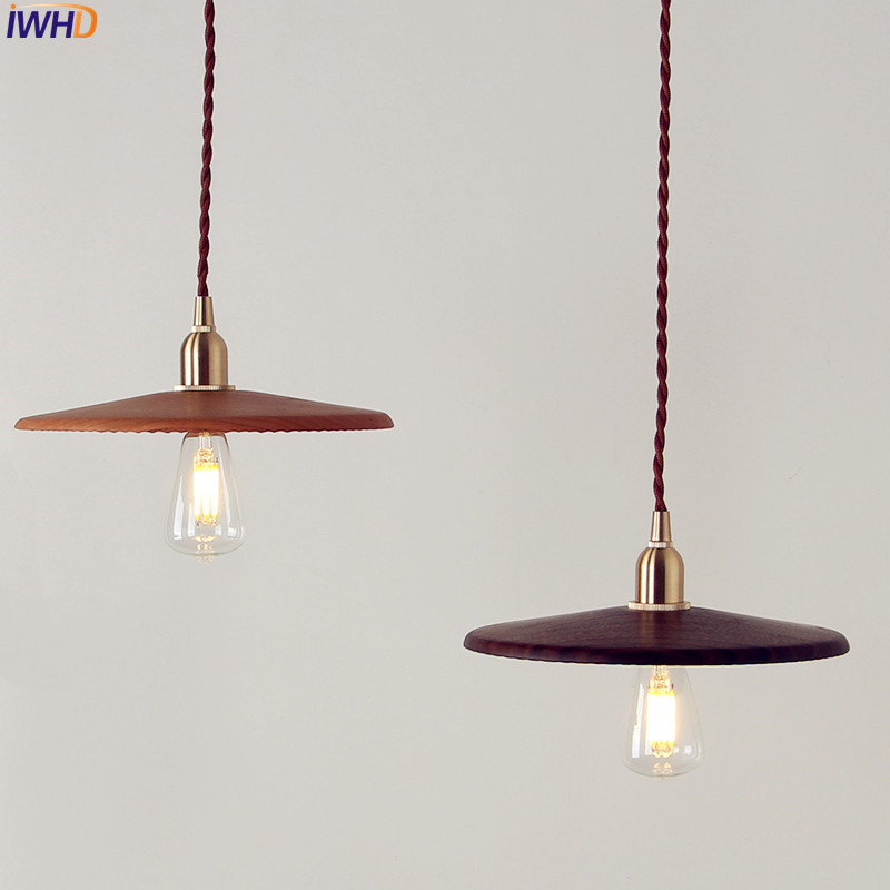 IWHD Nordic Japanese Style LED Pendant Light Fixtures Dinning Living Room Vintage Wooden Copper Hanging Lamp Lampara Colgante