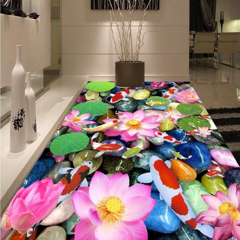 Free shipping custom High definition carp lotus pebble floor painting 3d floor mural anti-skidding thickened wallpaper
