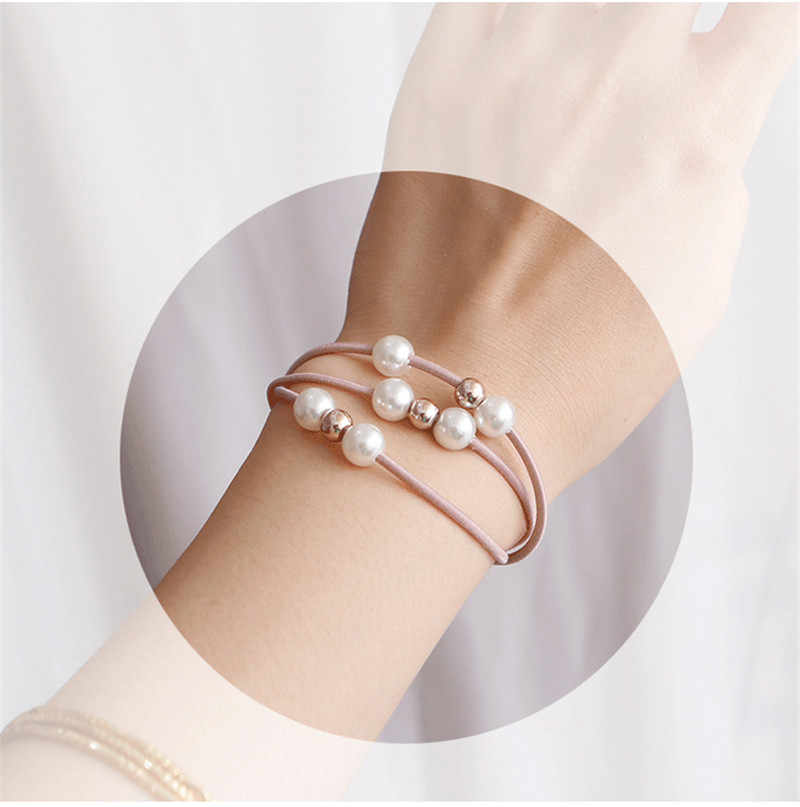 7 teile/satz Einfache Perle Haar Seil Frauen Mädchen Elastische Haar Gummi Band Zubehör Für Mädchen Krawatte Haar Ring Seil Headwear kopfschmuck