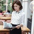 New Arrival 2016 Outono Estilo Coreano Mulheres Blusa Chiffon Branco Fino Top para Senhora Do Escritório de Manga Longa Floral Camisa de Renda 667E 25