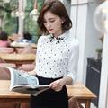Nueva Llegada 2016 Otoño Estilo Coreano de Las Mujeres Blusa de Gasa Blanca Delgada 667E superior para Office Lady Floral de Manga Larga Camisa de Encaje 25