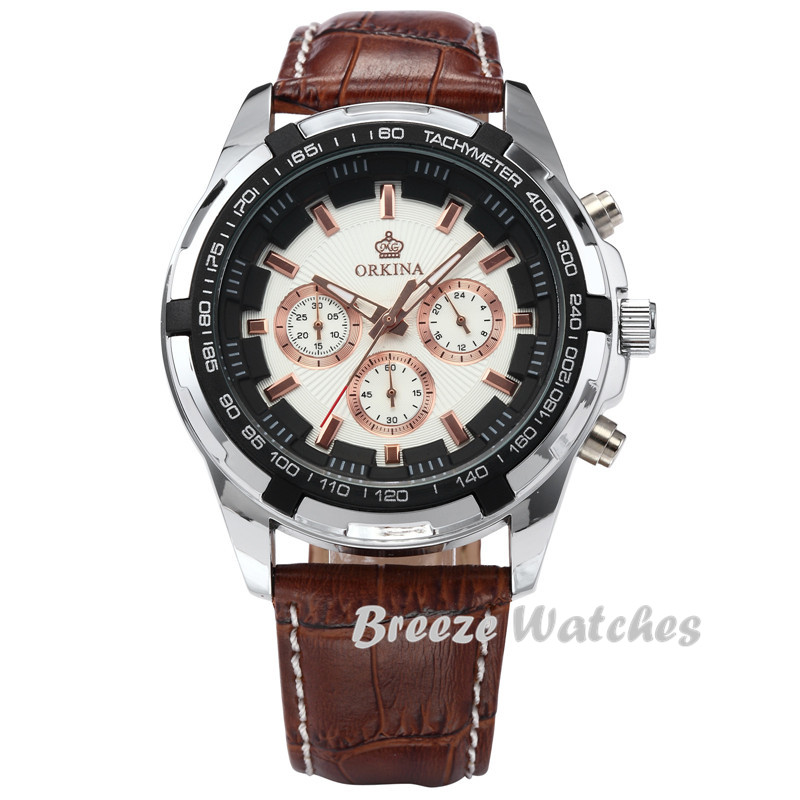 MG. ORKINA 45mm blanc boîtier hommes montres Quartz Casusal montre-bracelet café marron bracelet en cuir mâle horloge montre Relogio Masculino - 5