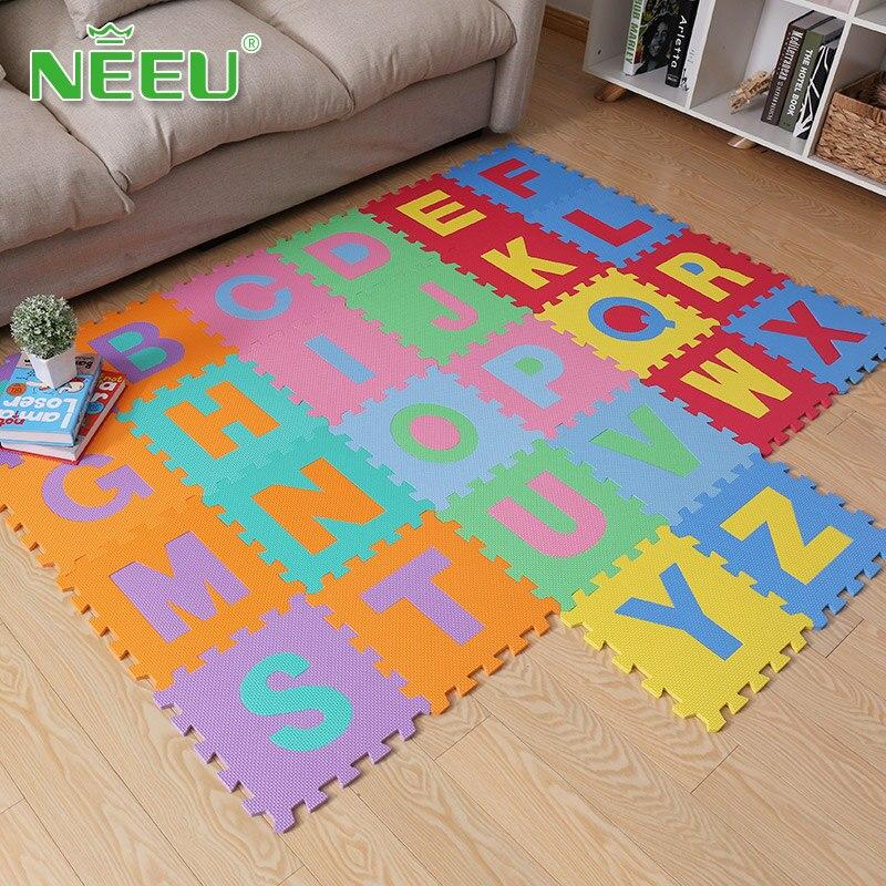 Neeu 26 Alphabets enfants EVA mousse Puzzle tapis de jeu carreaux avec des bords exercice bébé Style ABC tapis de jeu tapis de verrouillage éducatif