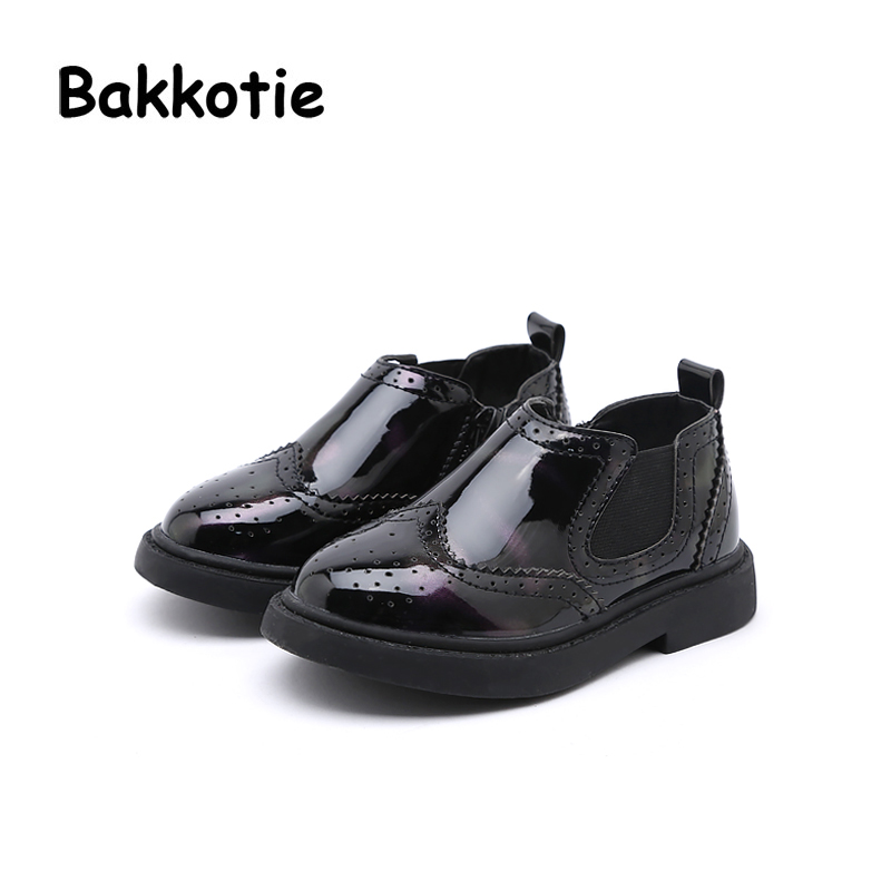 Bakkotie 2018 Spring Baby Boy New Fashion Patent Leather Shoe Child Casual Shoe Flat Little Kid Brand Girl Soft Sole Toddler