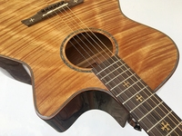 hand made flame maple acoustic guitar with electric tuner