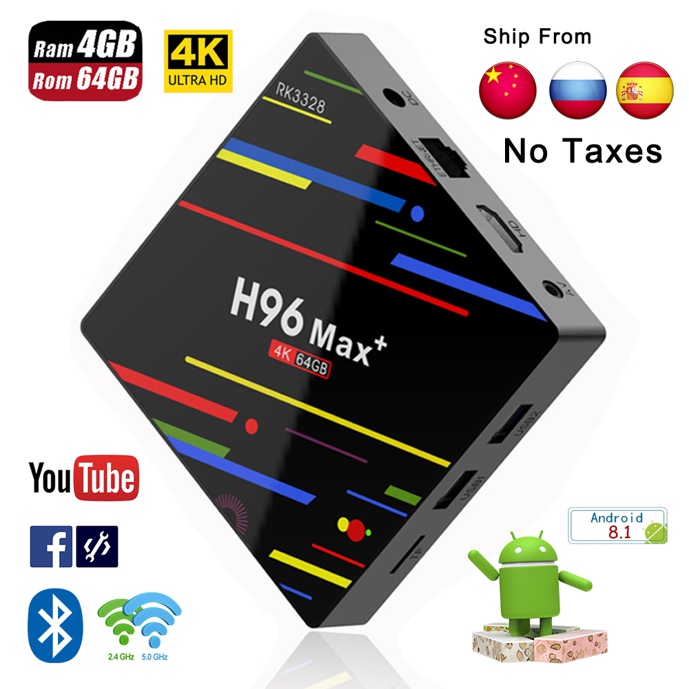 H96 Max plus Smart TV box Android 8.1 prend en charge IPTV 4 K 4 GB RAM 32 GB 64 GB ROM WiFi 2.4G/5G & BT Android IPTV Box pk X96 lecteur multimédia
