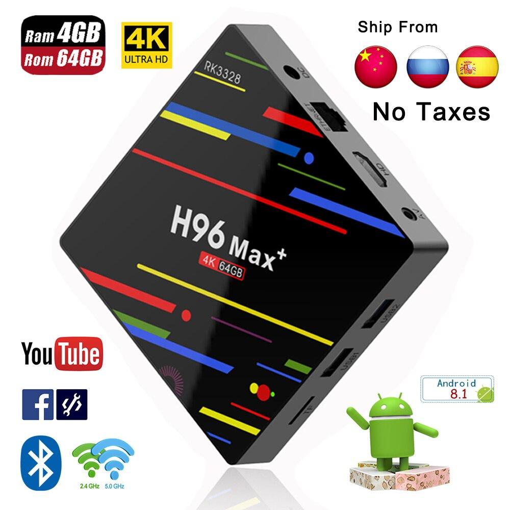 H96 Max plus boîtier de smart tv Android 8.1 soutien IPTV 4 K 4 GB RAM 32 GB 64 GB ROM WiFi 2.4 g/5G & BT Android boîte d'iptv pk X96 lecteur multimédia