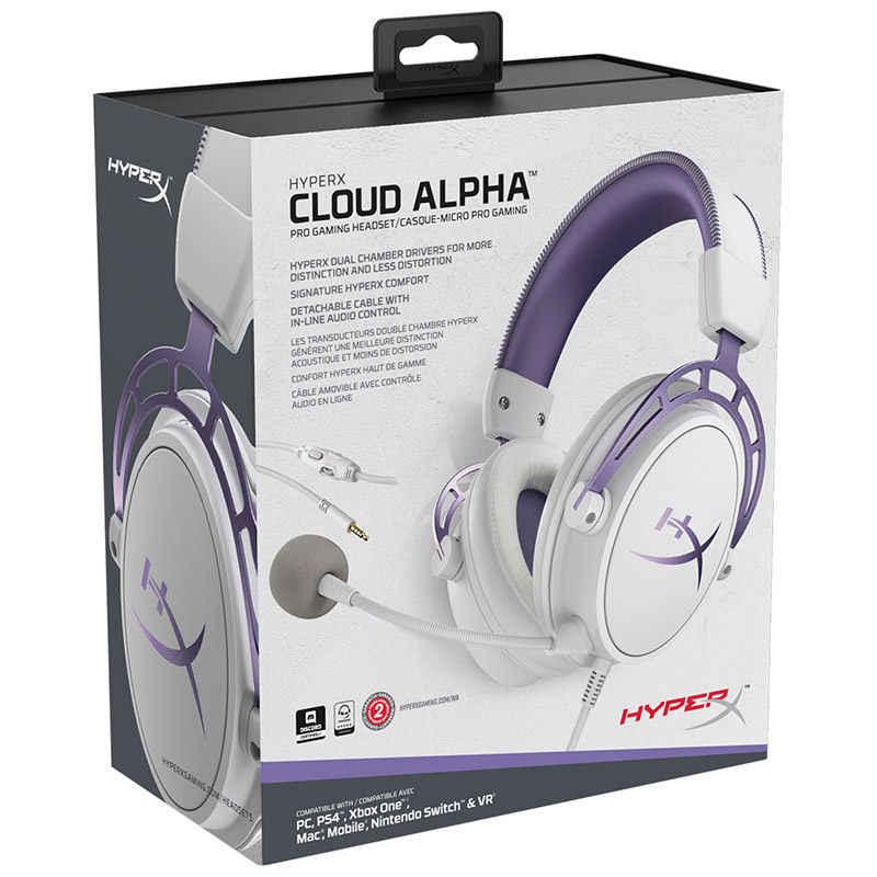 Kingston HyperX Cloud Alpha Purple edycja limitowana e-sportowe słuchawki z mikrofonem gamingowy zestaw słuchawkowy na PC PS4 Xbox Mobile