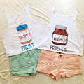 2016 Cartoon Nutella Cute Printed Crop Tops Harajuku Kwaii Skippy Best Friends T shirt Tops Blusas S-XL WCT24