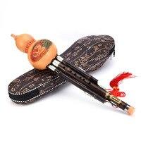 Chinese Handmade Flute Three Tone Woodwind Instrument Performance Levelled Hulusi Flute Black Bamboo Gourd Cucurbit Flute