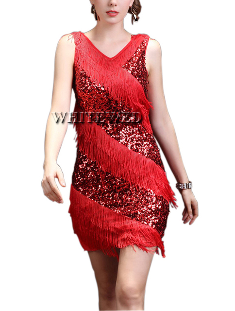9940c19e2147 Red Black Grey Purple Gold Fringe 1920 Girls Flapper Dancing Dance Ballroom  Competition Style Dress Costume