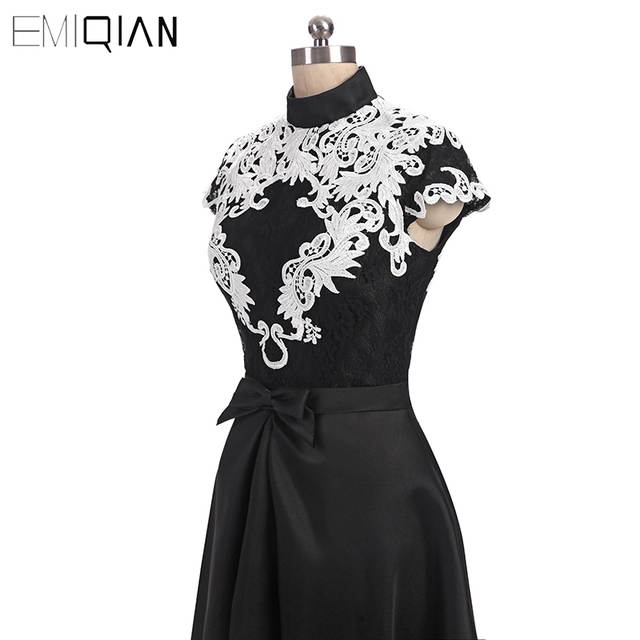 5b668448f0b3 Online Shop Fashion A Line High Neck Black Twill Satin Evening Gowns with  White Soluble Lace Cap Sleeve Women s Long Formal Evening Dress