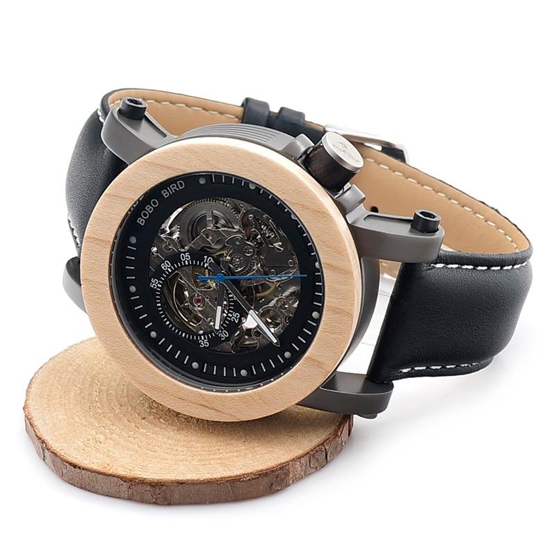 جديد العلامة التجارية بوبو الطيور الرجال الساعات الميكانيكية ساعة جلد أصلي الفرقة الخشب ساعة اليد relogios masculinos B K14-في الساعات الميكانيكية من ساعات اليد على  مجموعة 3