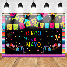 Mehofoto Cinco de Mayo Themed Party Photography Backdrop Celebration Mexican Festival Background Firework Flag Mexico Style