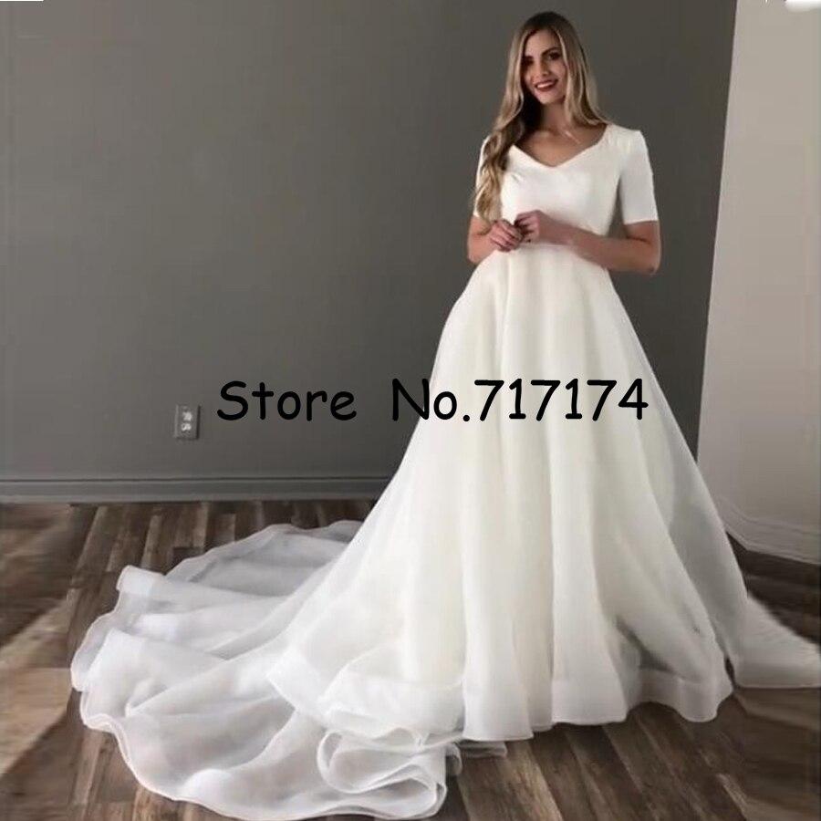 Elegant Soft Chiffon V-neck Short Sleeves A-line Wedding Dress Sweep Train Zipper Back With A Belt Bridal Dress Vestido De Novia