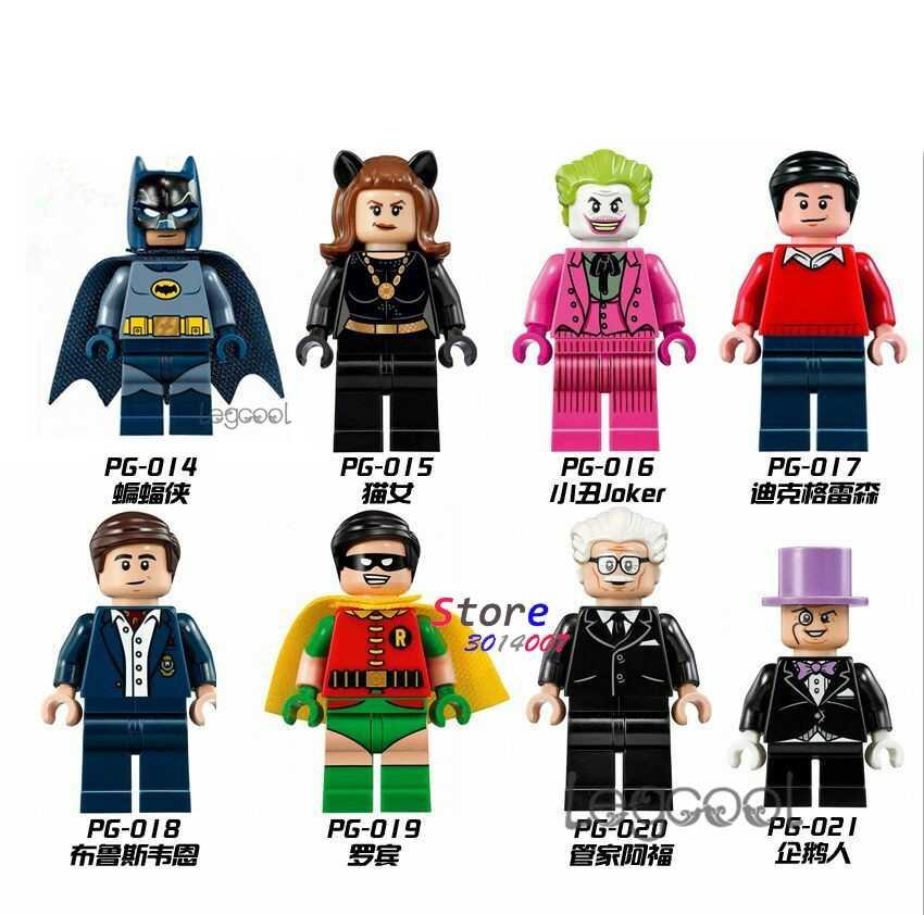 1 Buah Model Blok Bangunan Superhero Batman Catwoman Joker Bruce Wayne Robin Alfred Penguin Wolverine DIY Mainan untuk Anak-anak Hadiah