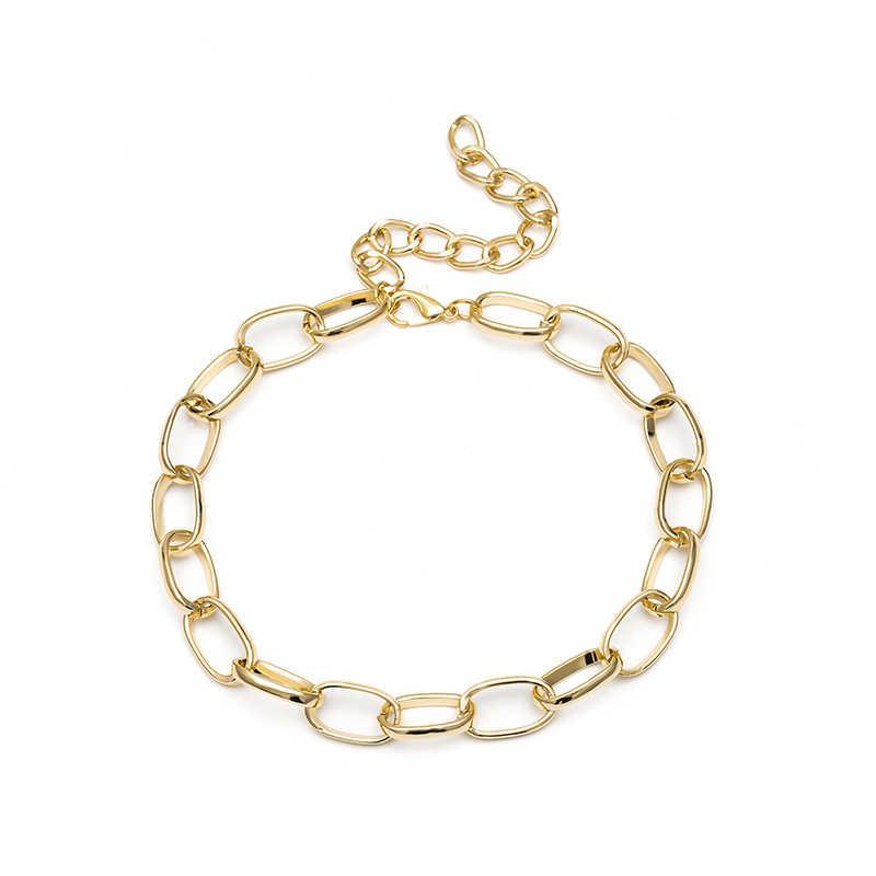 1pc Punk Chunky Choker naszyjnik Choker komunikat Vintage ciężki metalowy naszyjnik dla kobiet biżuteria dziewczęca prezent