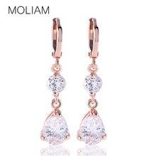 Dazzling wedding earring women 18k white gold plated drop earrings crystal zirconia dangle E139a