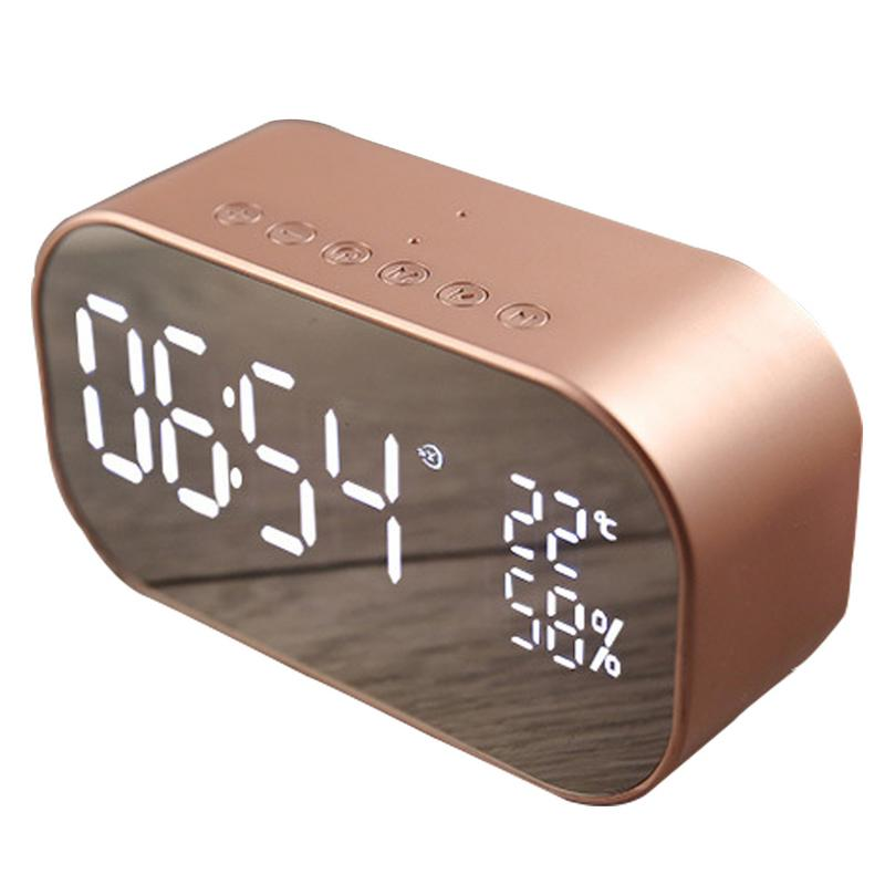 Mirror Design Bluetooth Speaker Wireless Mini Alarm Clock Speaker Car Subwoofer Potable Wireless Speaker Support TF Card flying saucer style car wireless bluetooth speaker w tf u disk alarm clock black red