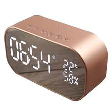 Mirror Design Bluetooth Speaker Wireless Mini Alarm Clock Speaker Car Subwoofer Potable Wireless Speaker Support TF Card(China)