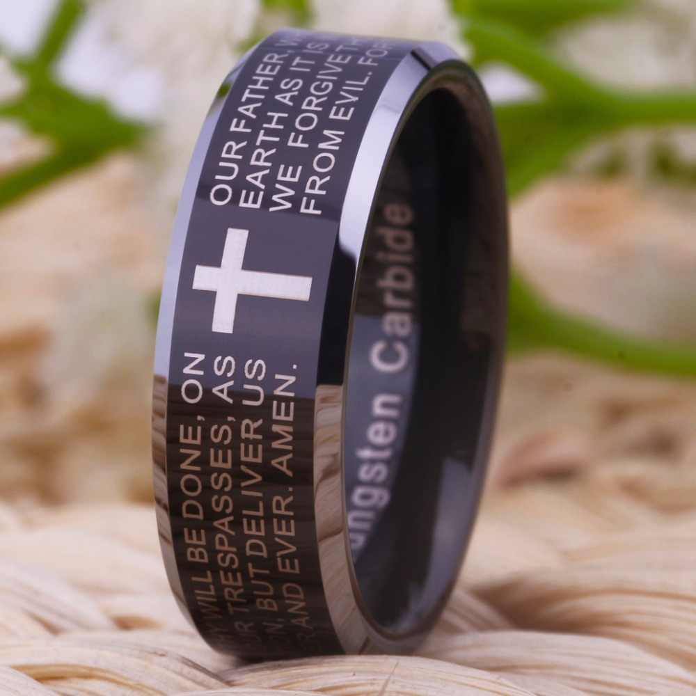 Free Shipping Wholesales Cheap Price Jewelry USA Hot Sales 8mm Men's Tungsten Ring Comfort Fit Cross Bible Lords Prayer Wedding