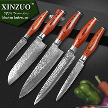 XINZUO 5 pcs kitchen knife set Japanese VG10 Damascus kitchen knife set cleaver chef utility hammer striae forging free shipping