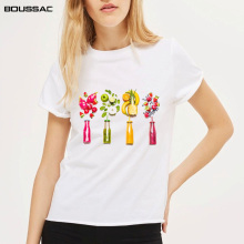 Kawaii Fruit Juice Cotton T-shirt Women Tops Harajuku Slim Fitted Fashion Tee 2019 New Arrivals Summer Casual Female T-shirts v cut textured slim fitted tee