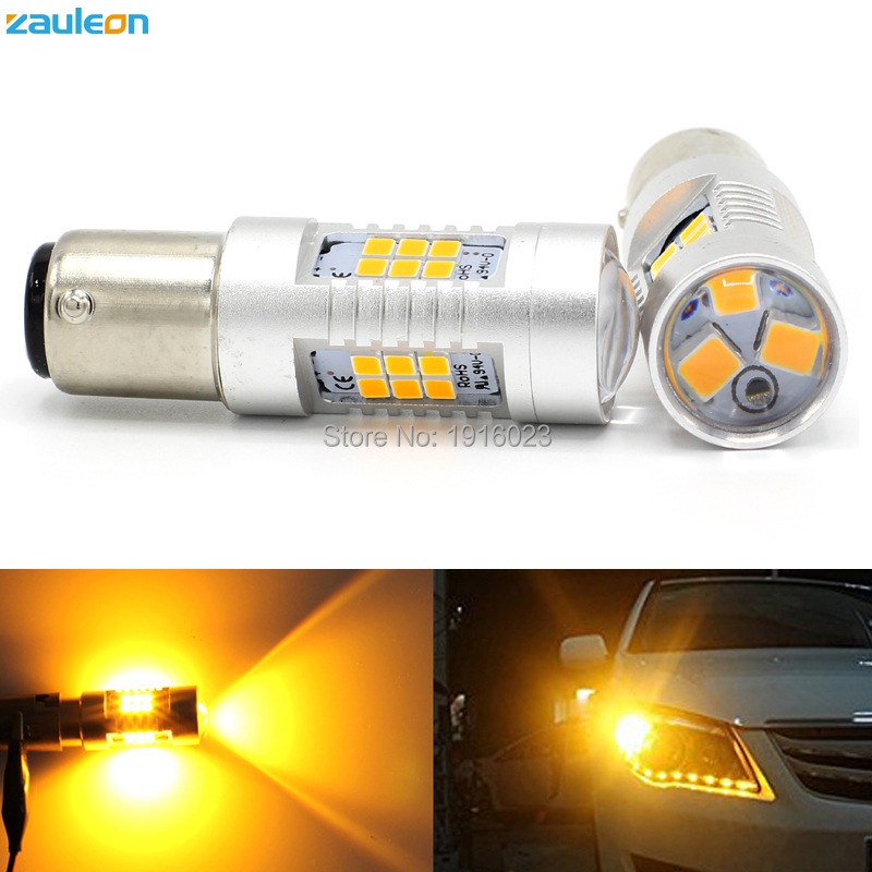 2pcs 1156 1157 P21W P21 5W Turn Signal Light High Power 21SMD 2835 779lm BAU15S PY21W Yellow Amber LED Parking Lamp Car Styling