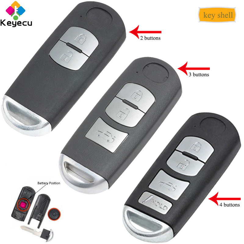 KEYECU Replacement Remote Key Shell- 2/ 3/ 4 Buttons& Emergency Key - FOB for Mazda 3 6 2014- 2018 SKE13D-01 FCC ID: WAZSKE13D01