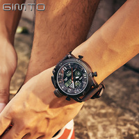 GIMTO Cool Army Men Sport Watch Brand Leather Digital Male Wrist Watches Waterproof LED Black Military