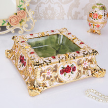 Home Decor Creative Golden European Style Square Ashtray Cigar Cigarette Smoking Accessories Decoration Gifts Ornaments