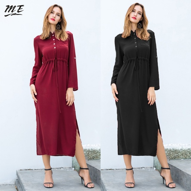 3524e1f407f ME Winter Women Shirt Dress Elegant Long Sleeve Round Neck Button Down  Split Maxi Dresses Casual Loose Christmas Party Dress