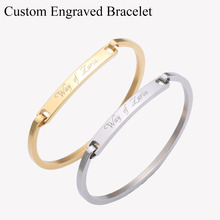 Custom Personalized Name Engraved Bangle Gold Bar Custom Engraved Name Bracelet Personalized Initial bracelet stainless bangle