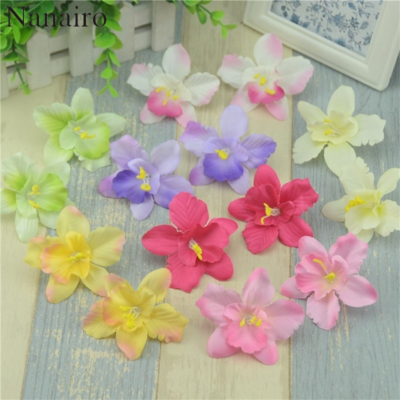 50Pcs 7cm Real Touch Artificial Phalaenopsis Silk Orchid Flowers Heads Scrapbooking Garland Fake Flower For Wedding Decorative