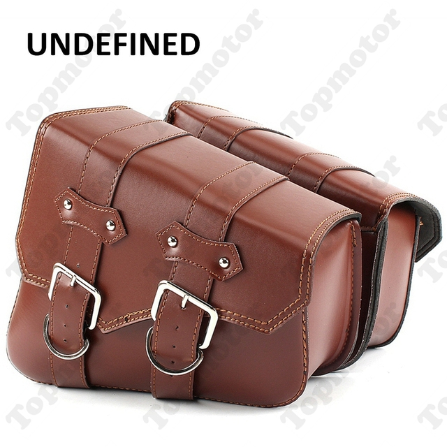 bb3d9e724bd7 Brown PU Leather Motorcycle Bike Luggage Tool Side Bag Saddlebag For Harley  Davidson Sportster XL 883 XL 1200 UNDEFINED
