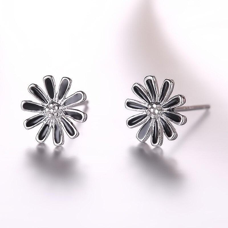 100 925 sterling silver new arrival black sunflower stud earrings wholesale jewelry women birthday gift drop shipping in Stud Earrings from Jewelry Accessories