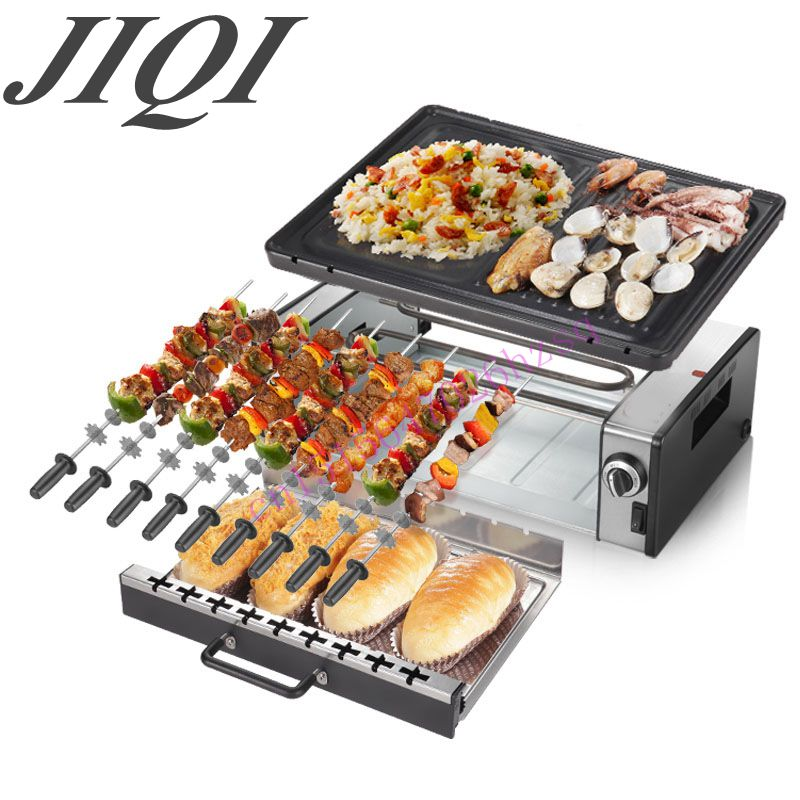 ФОТО Household electric oven smoke-free non stick electric baking pan grill skewers household machine barbecue grill