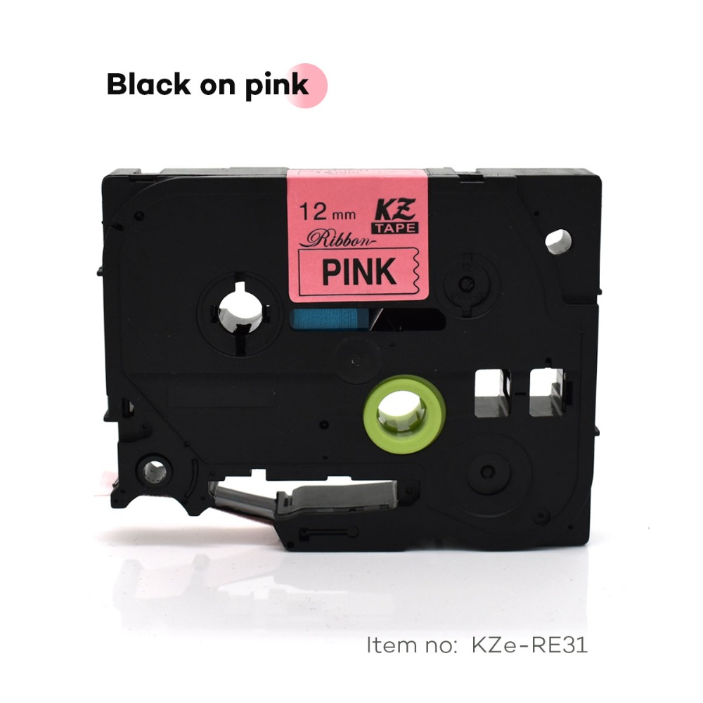 CIDY TZe-RE31 For TZe Satin Ribbon Compatible Brother P Touch 12mm*4m Black On Pink TZ-RE31 Tze RE31 TZ RE31 Label Tape