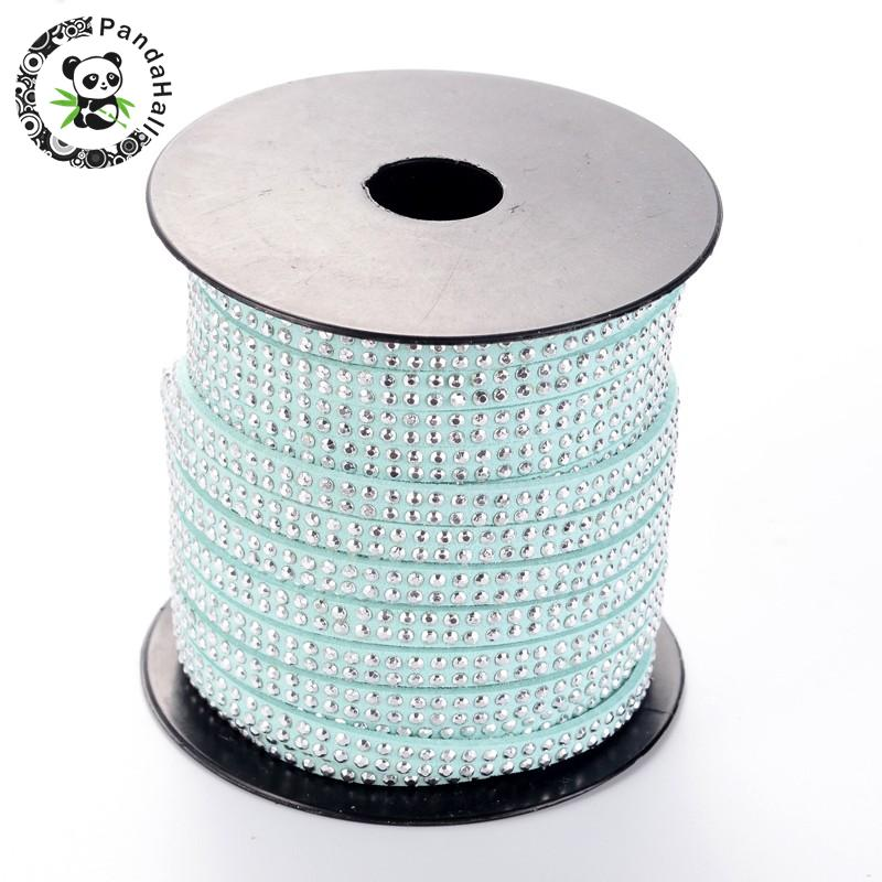 2 Row Platinum Aluminum Studded Korea Faux Suede Cord for Jewelry Making 5x2mm about 20yards/roll