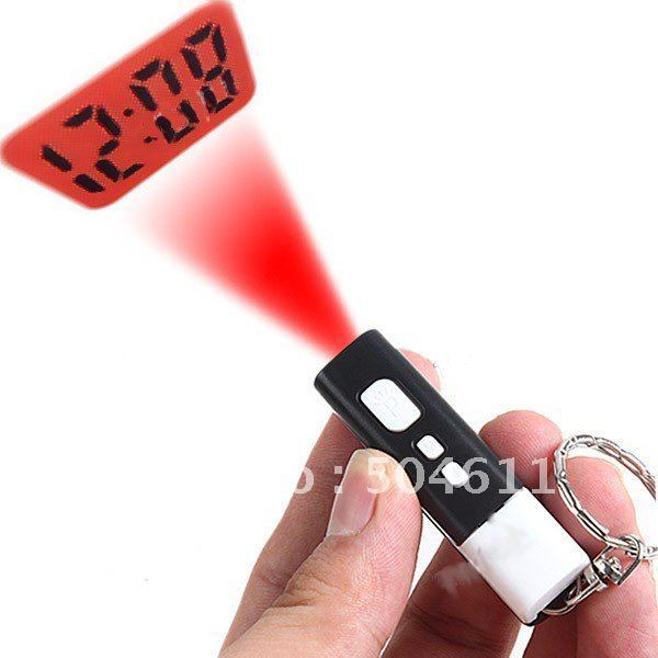 3pcs * Mini Tiny LCD Projector Projection Digital Clock with Key Chain Ring