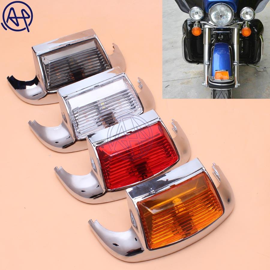 Motorcycle 4color Lens Front Fender Tip Light Lamp Edge 5050LED Chrome For Harley FLSTC Heritage Softail Classic