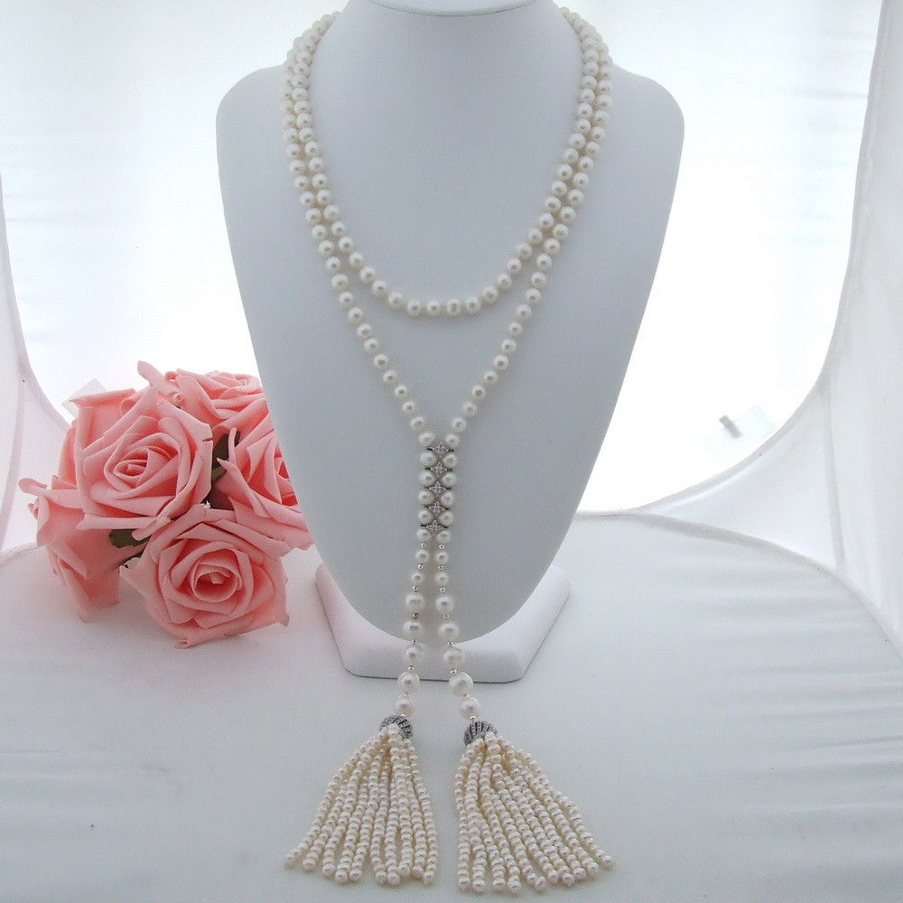 AB101002 46 White Pearl Necklace CZ PendantAB101002 46 White Pearl Necklace CZ Pendant