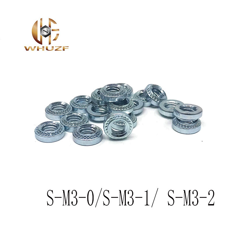 Nuts Galvanized Carbon Steel Round Nuts 100PCS S-M3-0//S-M3-1// S-M3-2 Metric self clinching Nuts Pressure riveting Nuts M2 Size: S-M3-1