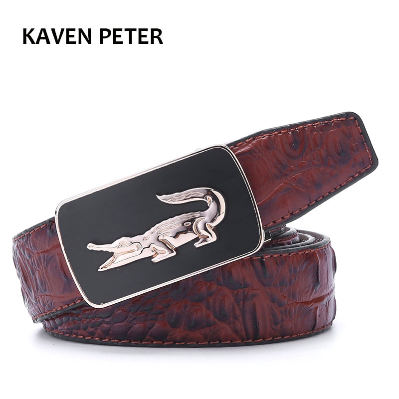 Men Crocodile Pattern   Belt   Fashion Luxury Alligator Automatic Buckle   Belts   Without Buckle Tooth On Strap Novelty Men's   Belt