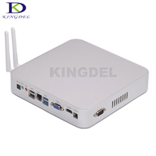 Kingdel Горячая 4 г Оперативная память 64 ГБ SSD Безвентиляторный Mini PC Barebone с Intel Quad Core Процессор N3150 HDMI VGA Без шума настольный компьютер