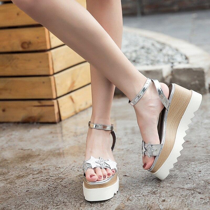 Cinq De Talons Chaussures Hauts Femmes Pente Impression argent Étoiles D'été Bouche Compensées Mode Sandales 3650 forme Poissons Or Plate 66A4qIwCH