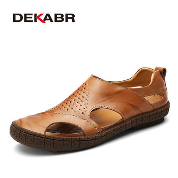 DEKABR Brand Summer Beach Shoes 2019 Fashion Designers Men Sandals Split Leather Slippers For Men Slip On Casual Shoes Men